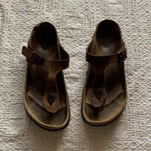 Birkenstock Gizeh brown leather sandals size 39
